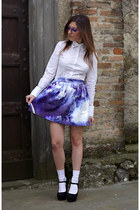 violet galaxy printed chicnova skirt - violet firmoo glasses