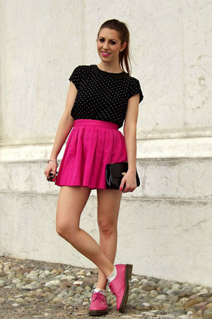 hot pink Bershka skirt - black collar H&M shirt - silver tiffany&co earrings