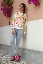 white baci Milano bag - light blue Zara jeans - yellow choiescom sweater