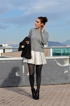 silver Pinko skirt - black Zign boots - heather gray vintage sweater