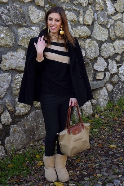 Zara coat - Ugg boots - handmade sweater - longchamp bag - H&M earrings