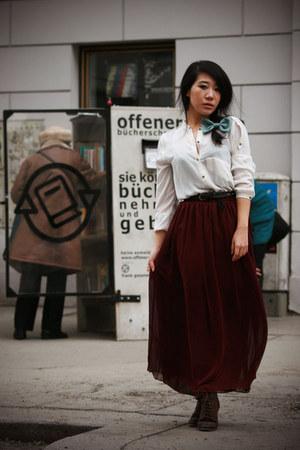 lace up asoscom boots - chiffon Zara shirt - chiffon maxi American Apparel skirt