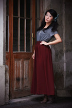 dark brown lace up asos boots - crimson maxi American Apparel skirt - gray H&M t