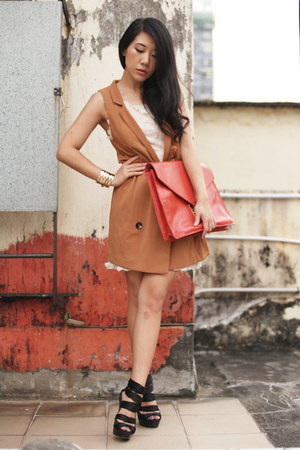 bronze H&amp;M vest - ivory H&amp;M dress - red asos bag - black asos heels