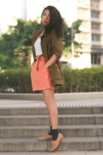 army green Zara jacket - navy H&M socks - coral Topshop skirt - white H&M top -