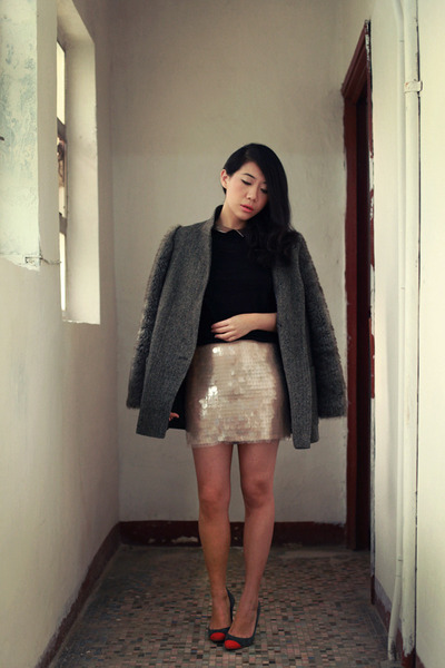 gray Topshop coat - light pink H&M skirt - black H&M top