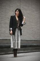 Zara blazer - vintage coat - asos skirt - asos boots - asos necklace