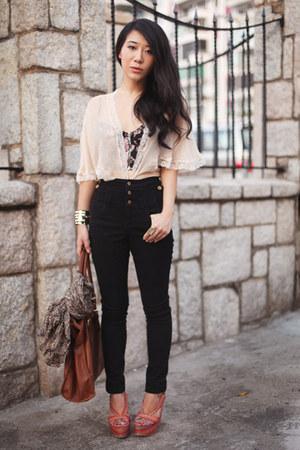 black Topshop pants - neutral Topshop cape