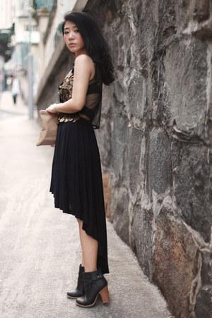 black Cheap Monday skirt - bronze asos top