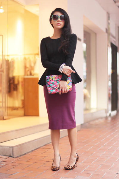 purple Topshop skirt - black H&M top - brown Joy & Peace heels