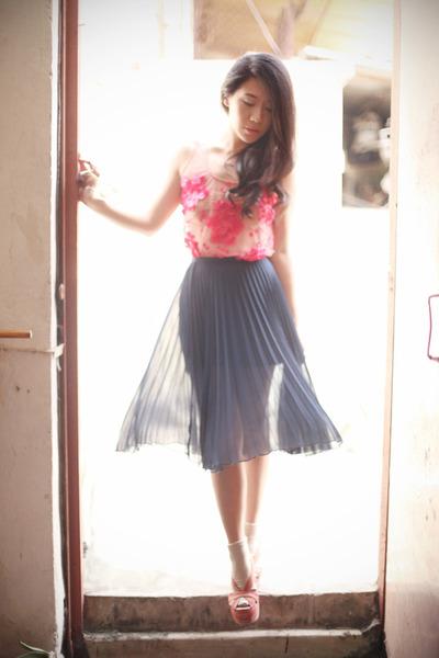 hot pink asos top - navy Topshop skirt