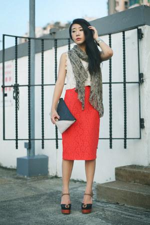 black Jeffrey Campbell sandals - white H&M top - carrot orange Topshop skirt