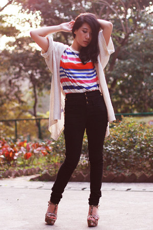 white kimono Mango cardigan - carrot orange Zara t-shirt - black Topshop pants -