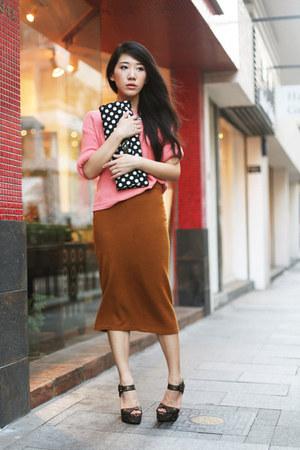 black asos bag - brown Topshop skirt - salmon Topshop jumper