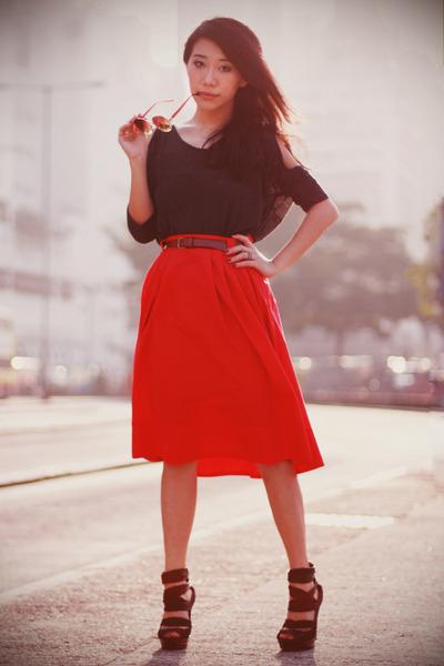 dark gray cut out asoscom dress - dark brown Topshop sunglasses - red H&M skirt