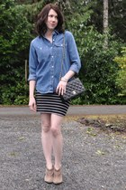 thrifted shirt - sam edelman shoes - thrifted vintage purse - Forever 21 skirt