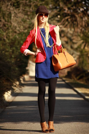 tangerine H&M blazer - royal blue Mango dress - Histoire de Plaire hat