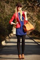 tangerine H&M blazer - royal blue Mango dress - Histoire de Plaire hat
