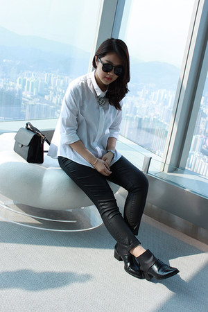 white poplin shirt Zara shirt - black no brand boots - black Fendi bag
