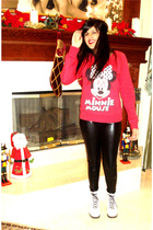 black f21 leggings - red f21 sweater - white