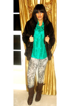 brown Betsey Johnson coat - brown  boots - white INC leggings - green silence an
