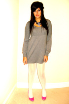 pink pink heels Jessica Simpson shoes - gray sweater dress H&M dress