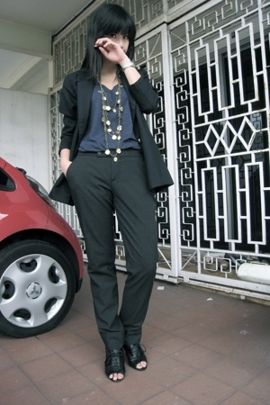 Jcrew t-shirt - hand-me-down blazer - Zara pants - Topshop accessories - Nine We