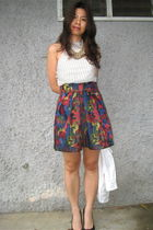 white random brand top - Forever21 skirt - gold Forever21 necklace - black Bersh