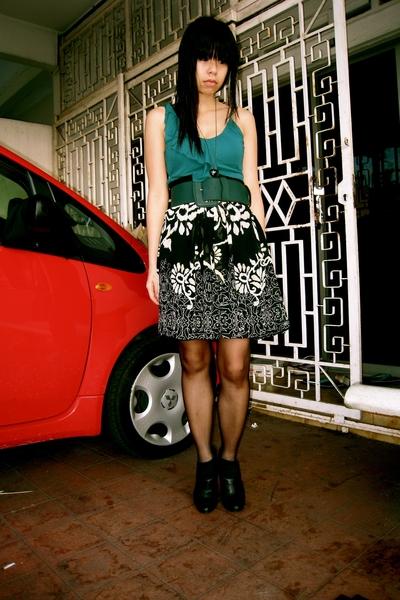 Mango top - thrifted belt - Mango skirt - calvin klein boots