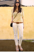 white skinny MNG jeans - black studded Zara bag - bronze printed Topshop belt -