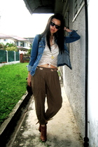 blue Mango jacket - beige Mango shirt - brown random brand pants - brown Aldo sh