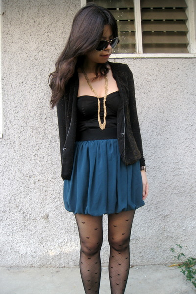 black random from Bangkok cardigan - black asos top - green Forever21 skirt - bl