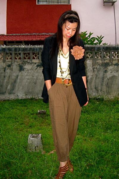 blazer - Womens secret top - Topshop belt - random brand pants - random from Ban