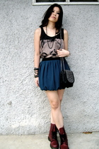 black random from Bangkok top - green Forever21 skirt - red doc martens shoes -
