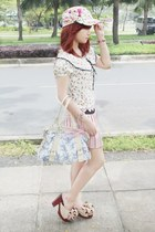 light pink Ice Cream Skirt skirt - bubble gum floral print Floral Cap hat