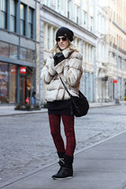 black Rugby Ralph Lauren hat - ivory Cosmode coat - red Big star jeans