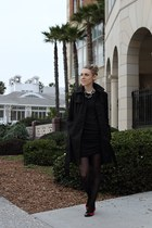 black DKNY coat - red all black shoes - dark gray Moda International dress