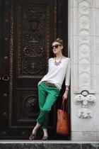white Gap sweater - tan Ralph Lauren bag - green Gap pants