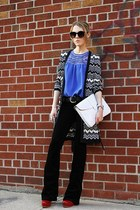 black asos sunglasses - black Chaudry KC cardigan - black blank nyc pants
