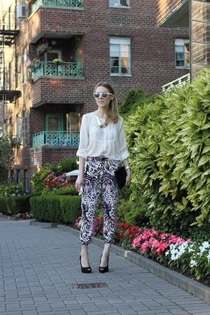 black eileen fisher bag - periwinkle River Island pants - black Nine West pumps