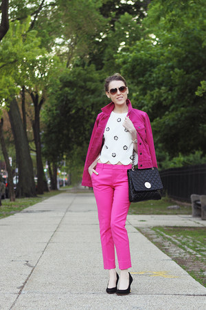 hot pink Gap jacket - black DKNY bag - white Marc by Marc Jacobs sunglasses