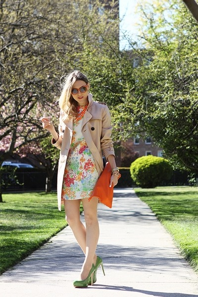 orange American Apparel bag - white asos dress - beige Gap coat