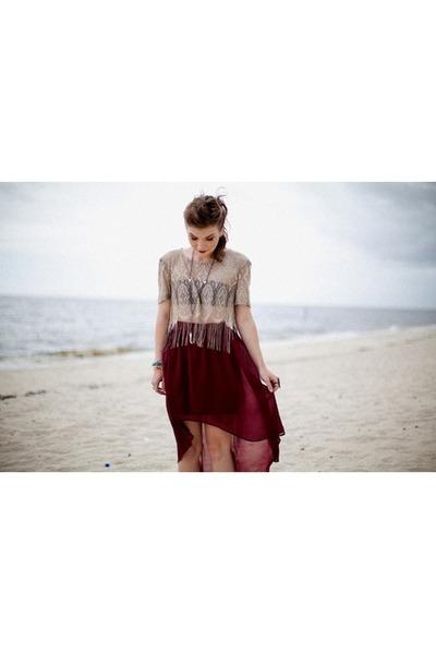 beige thrifted top - crimson Forever 21 skirt - black Charlotte Russe bra