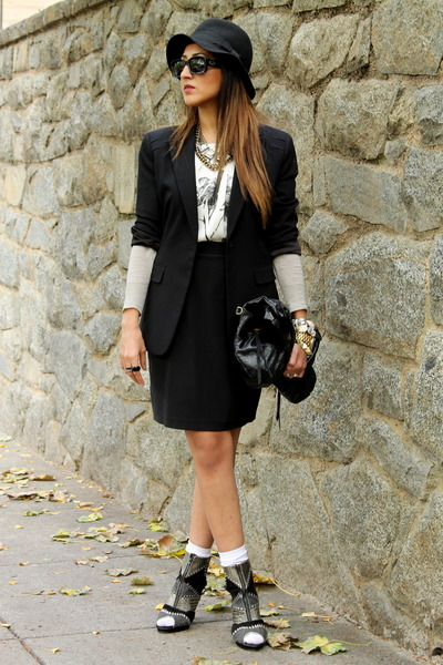H&M hat - Forever 21 shoes - Tahari blazer - foley  corinna bag - Zara blouse