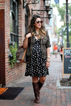 brown Louis Vuitton bag - dark brown Nine West boots - black asos dress