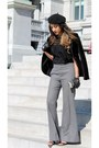 Black-zara-jacket-gray-selfridge-pants