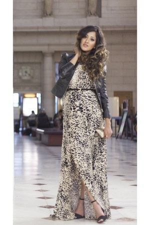 leopard print Haute Heritage dress - H&M jacket - Reiss purse - Zara heels
