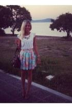 Dahlia skirt - dark brown Michael Kors bag - Zara necklace - white Zara blouse