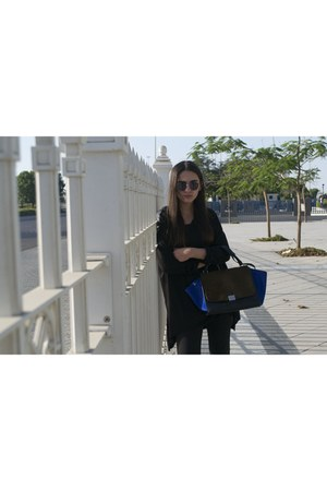 blue Celine bag - black Zara boots - black H&M top