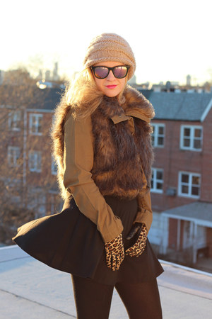 fur parka Three Floor coat - Plush tights - leopard gloves J Crew gloves